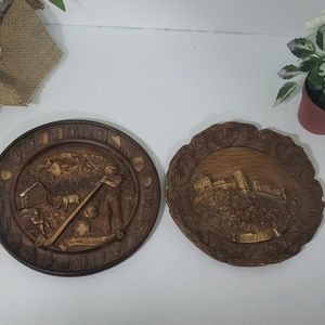 Vintage carved wooden 3D wall plates